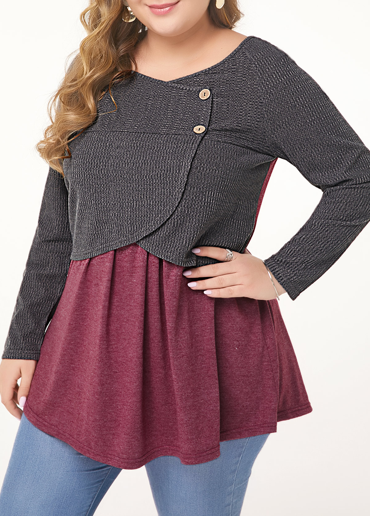 Button Embellished Long Sleeve Plus Size T Shirt