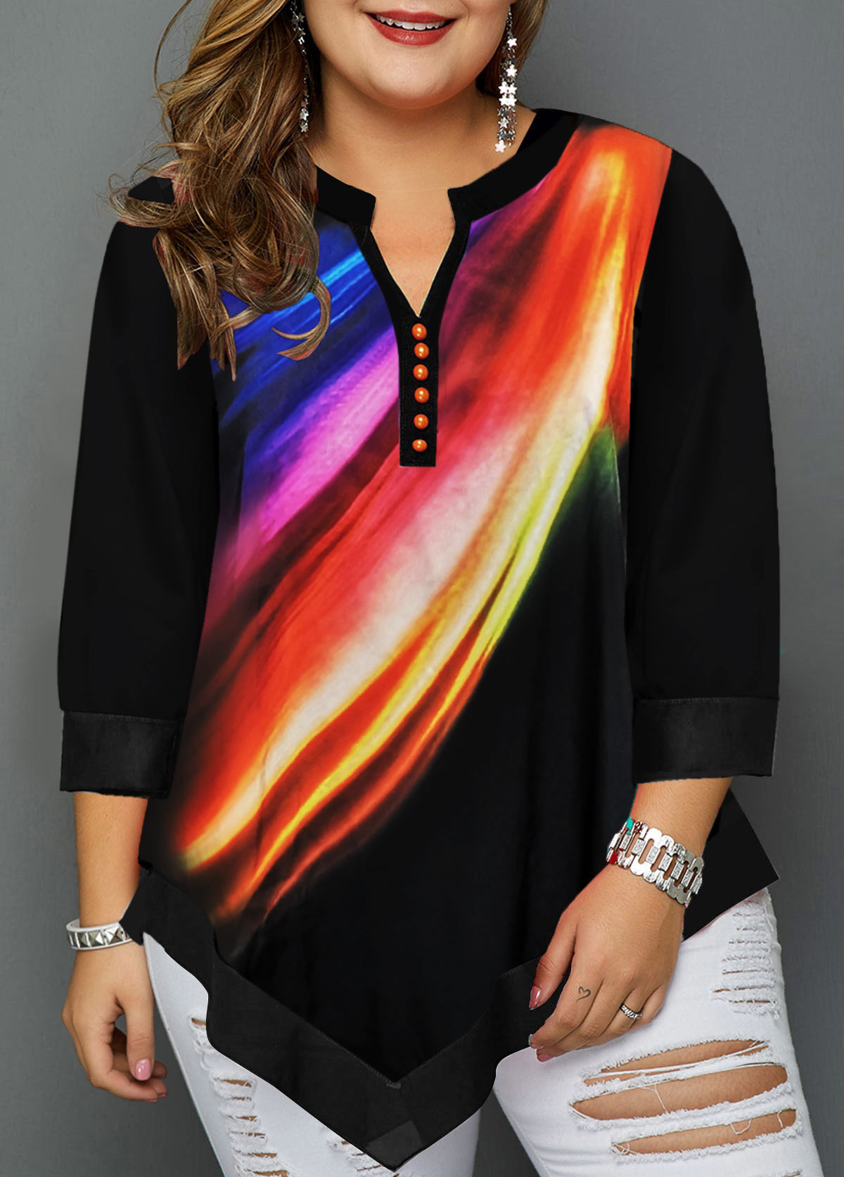 Split Neck Asymmetric Hem Plus Size T Shirt