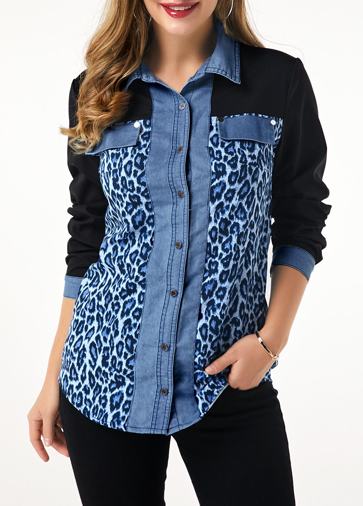 Leopard Print Button Up Denim Panel Shirt
