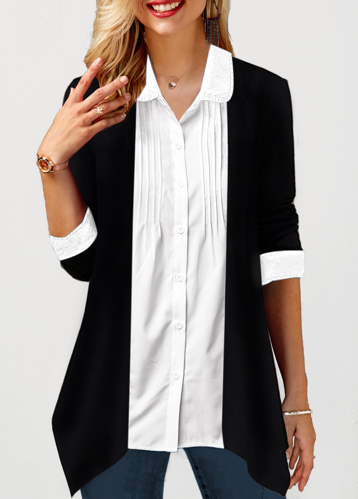 Crinkle Chest Turndown Collar Button Up Shirt