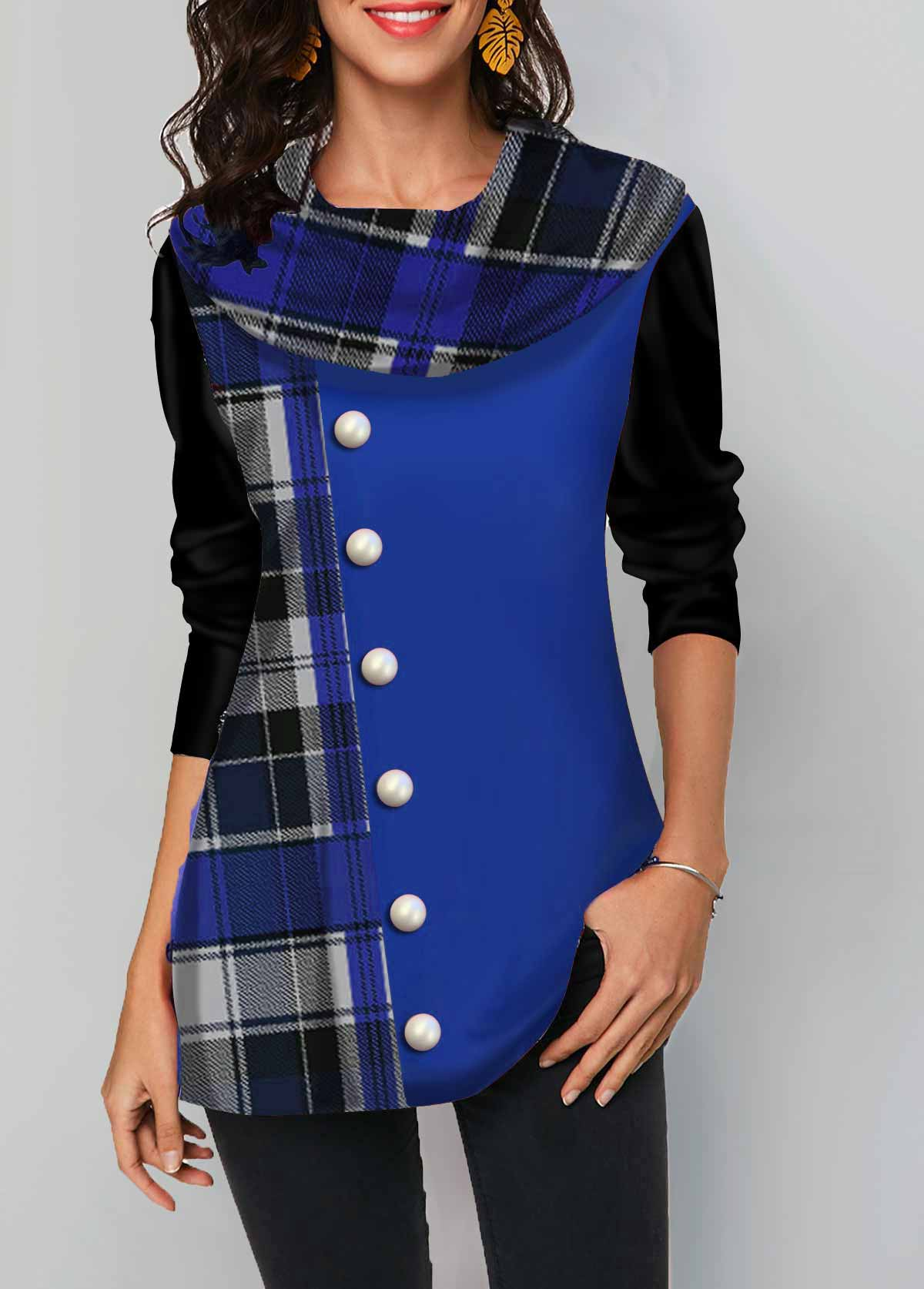 Plaid Print Button Detail Long Sleeve T Shirt