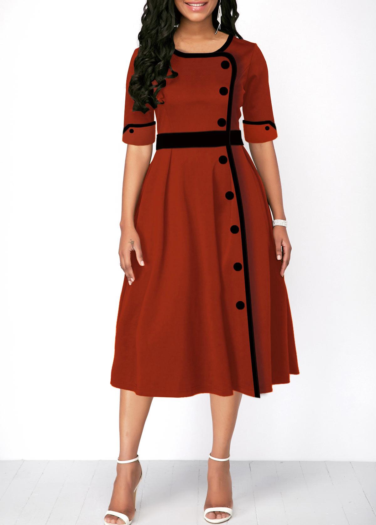 Button Front Half Sleeve High Waist Dress