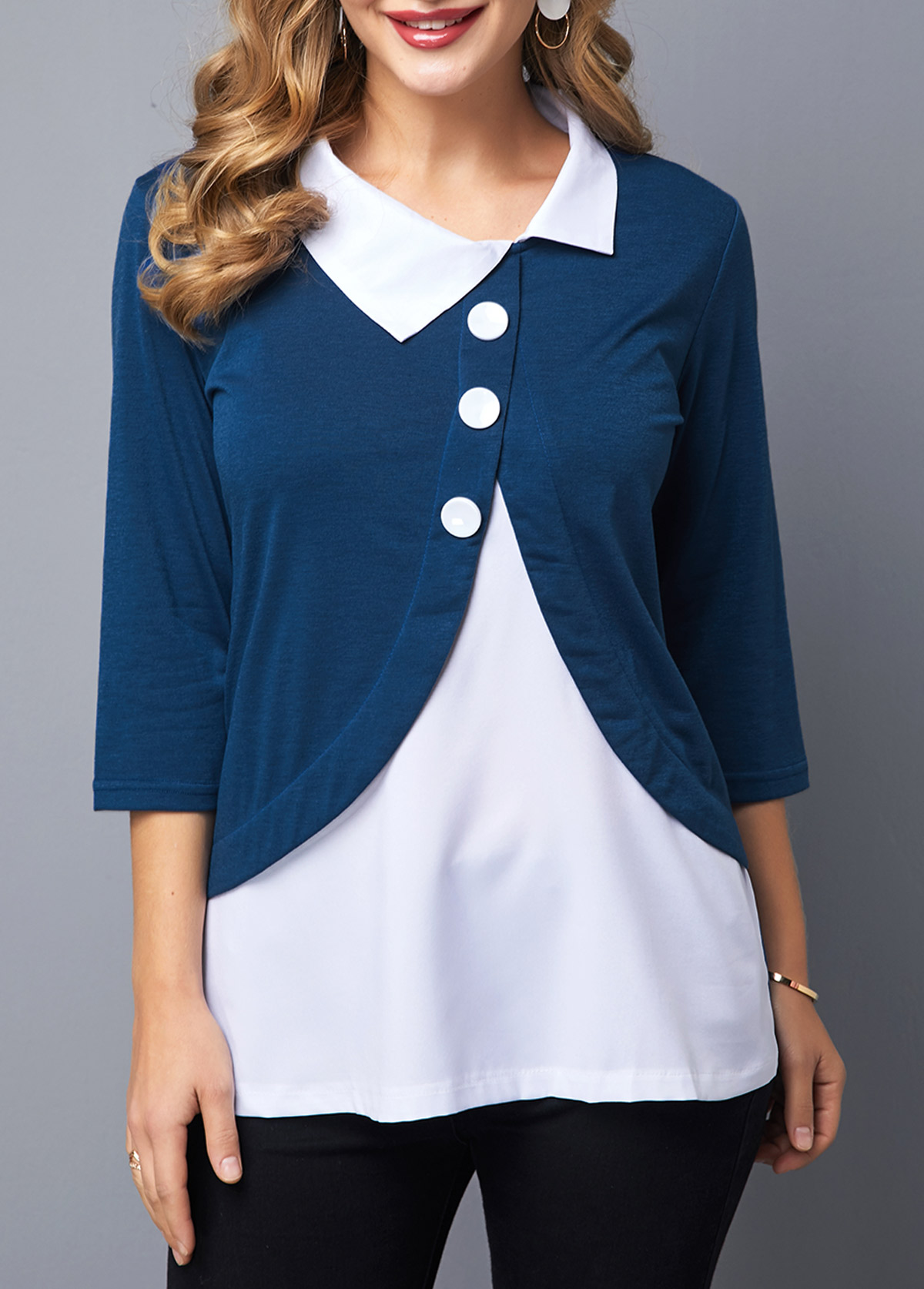 Faux Two Piece Turndown Collar Button Detail Blouse