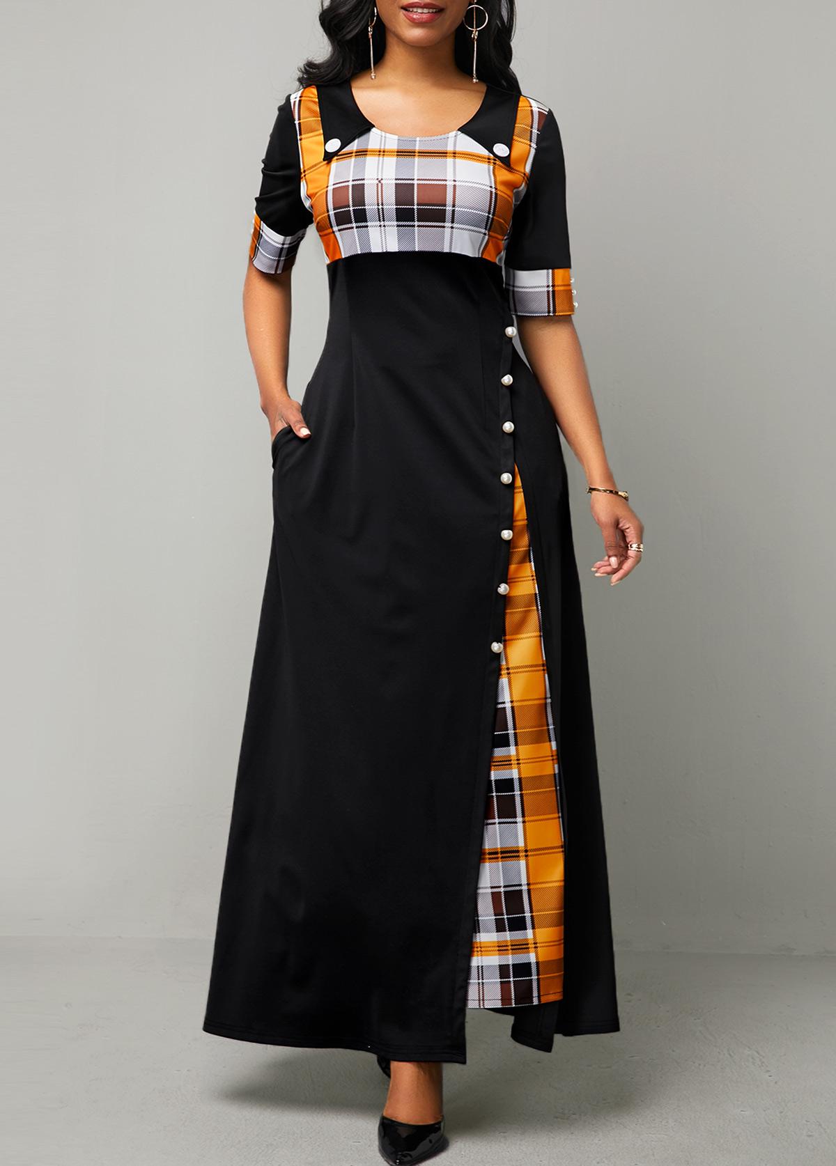 ROTITA Plaid Print Half Sleeve Button Detail Maxi Dress