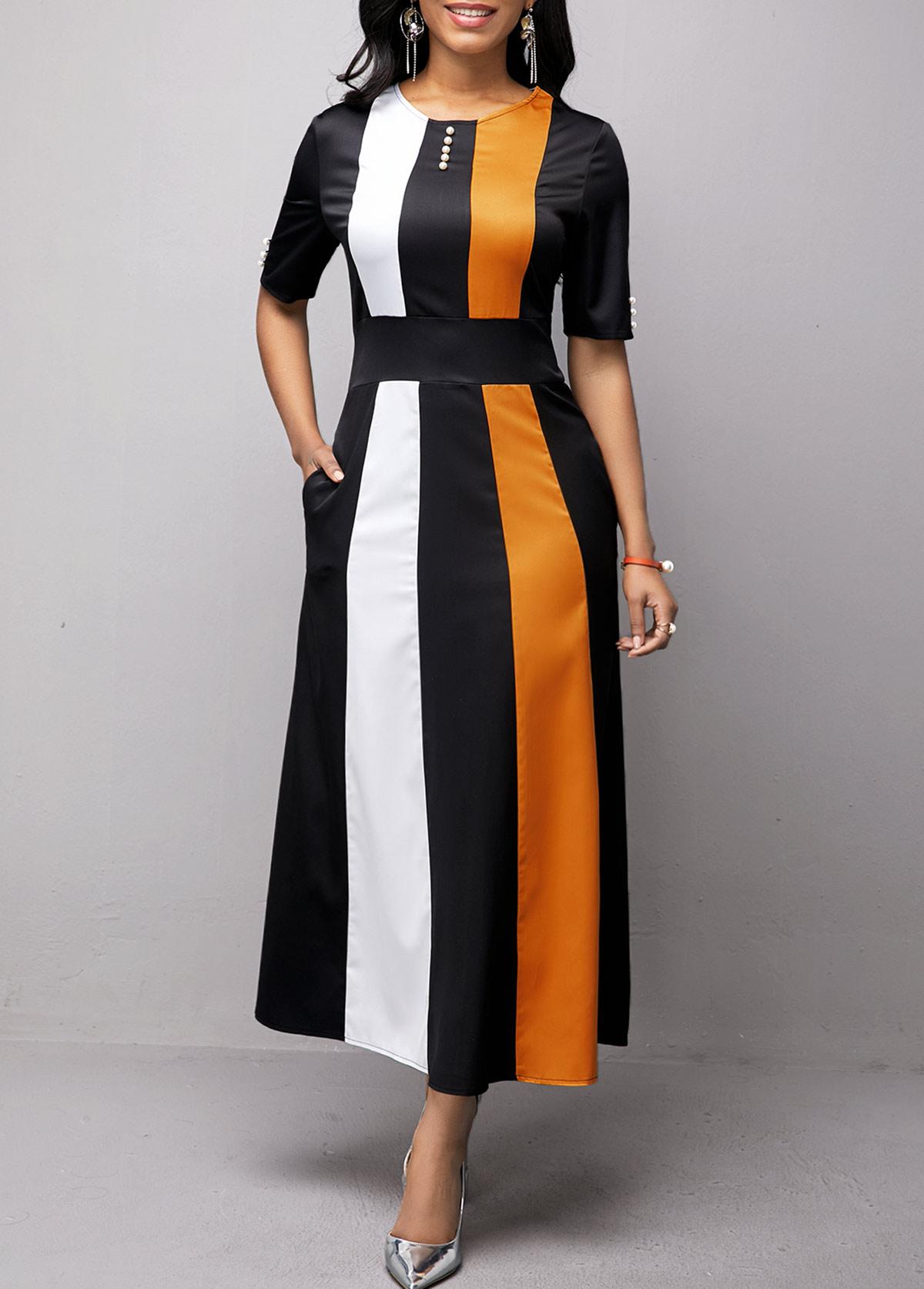 Button Detail Half Sleeve High Waist Dress