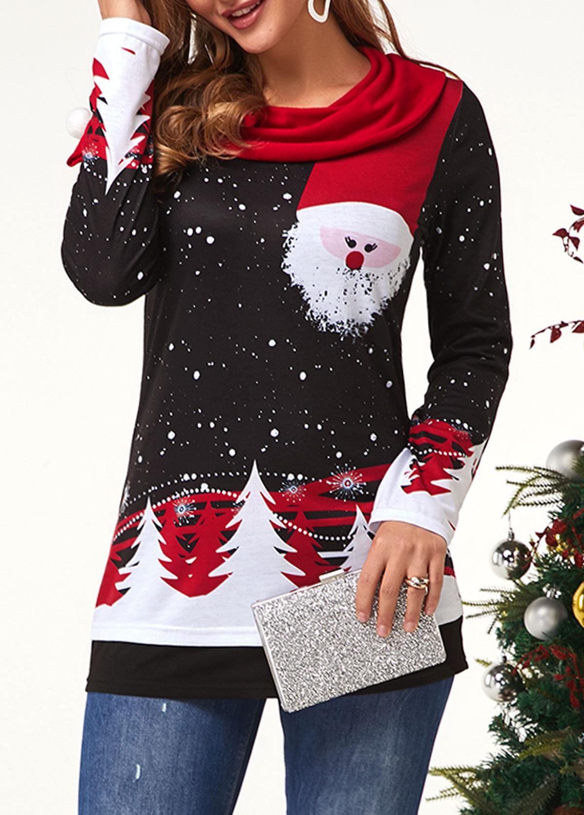 ROTITA Embellished Neck Christmas Print Long Sleeve T Shirt