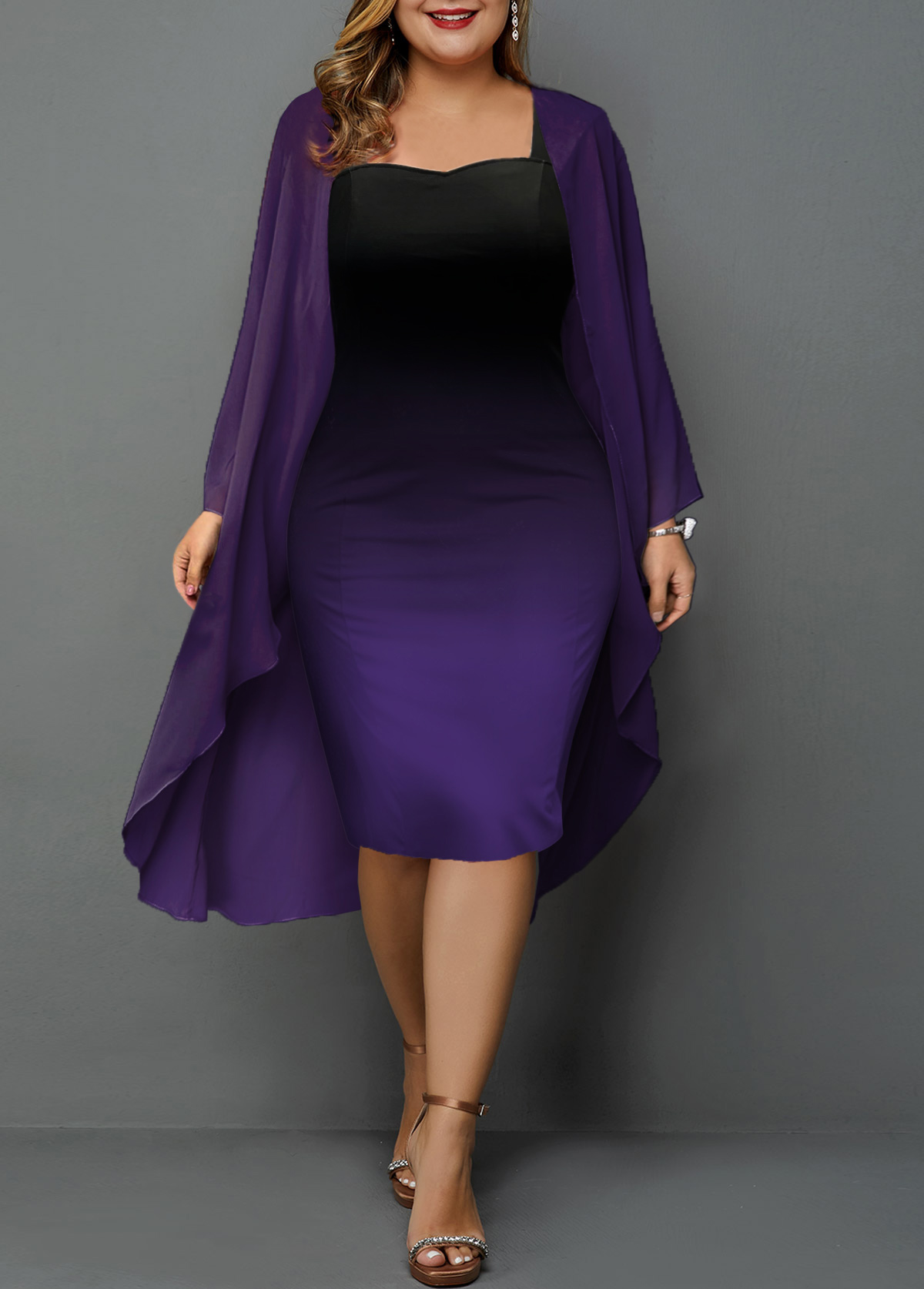 Plus Size Chiffon Cardigan and Gradient Sheath Dress