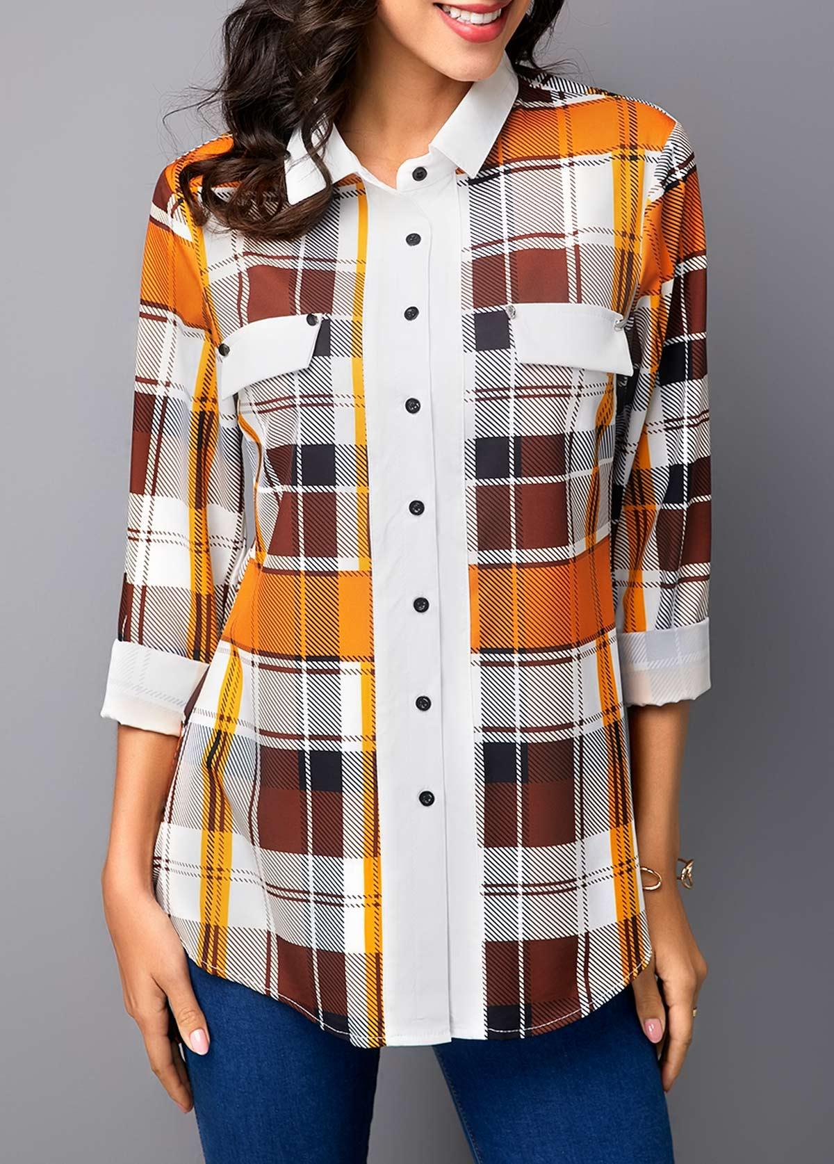 ROTITA Button Up Turndown Collar Plaid Print Shirt