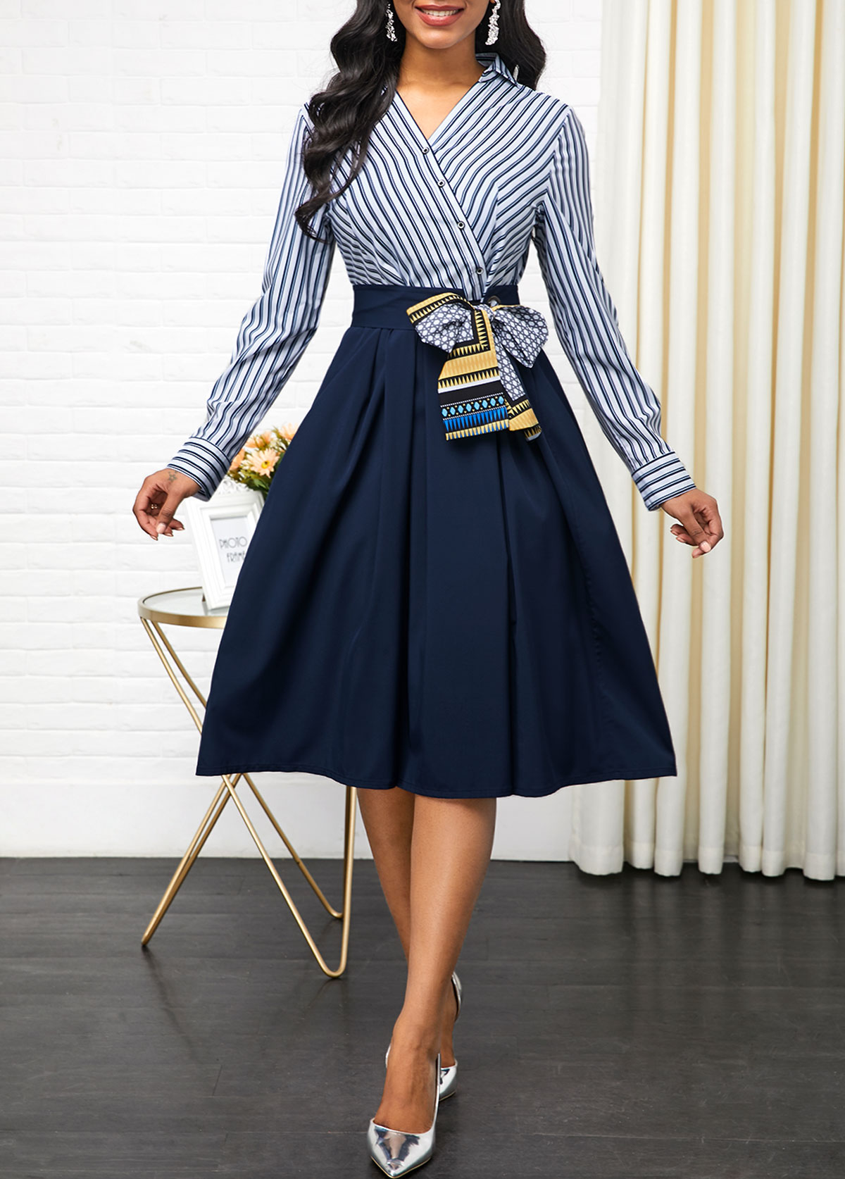 Button Detail Side Zipper Belted Dress
