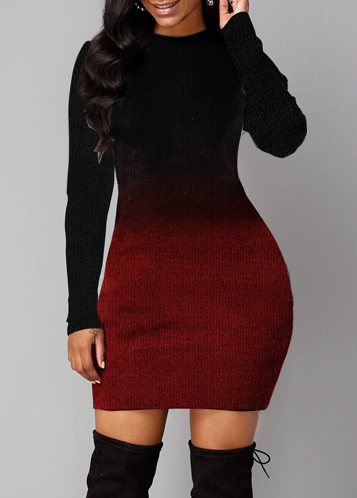 Long Sleeve Round Neck Gradient Sweater Dress