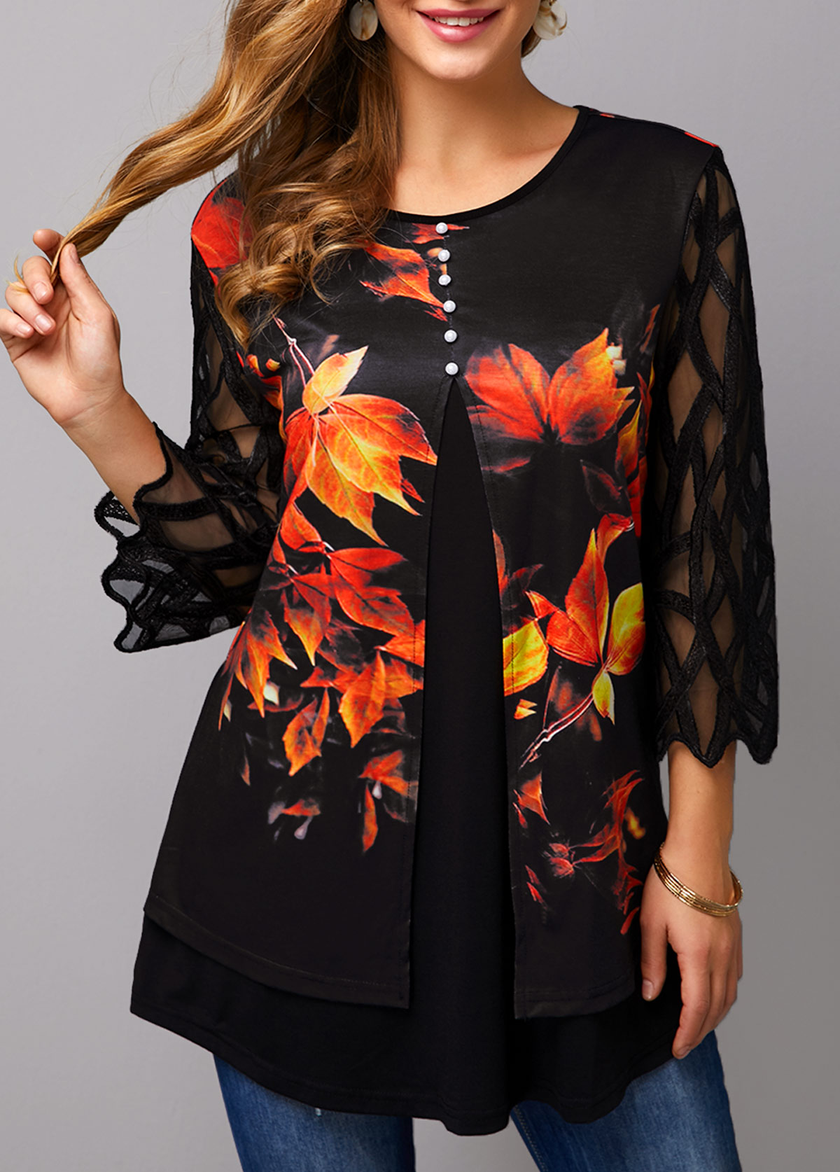 ROTITA Maple Leaf Print Faux Two Piece T Shirt