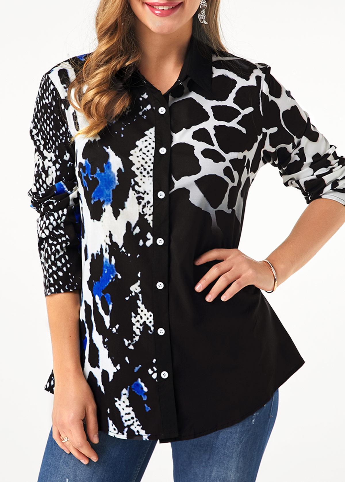 Button Up Leopard Print Turndown Collar Shirt