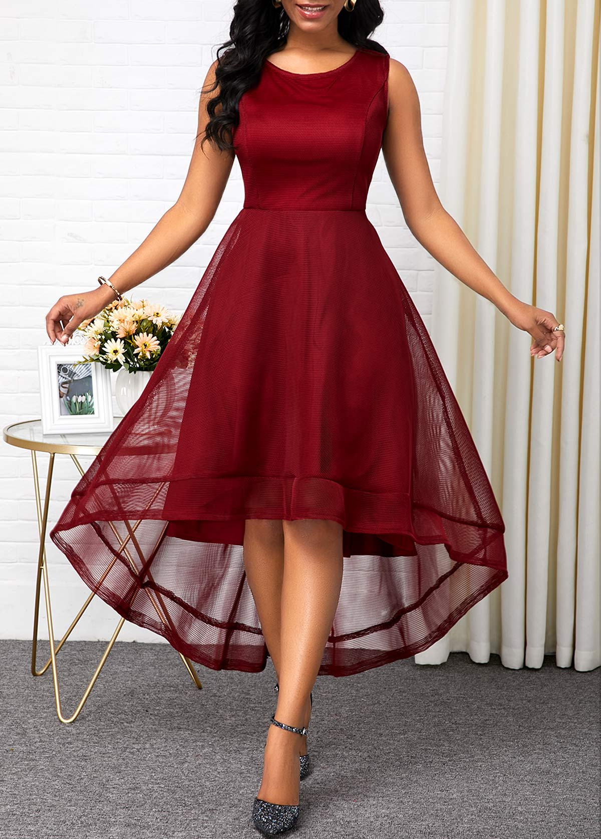 Sleeveless High Waist Round Neck Dress