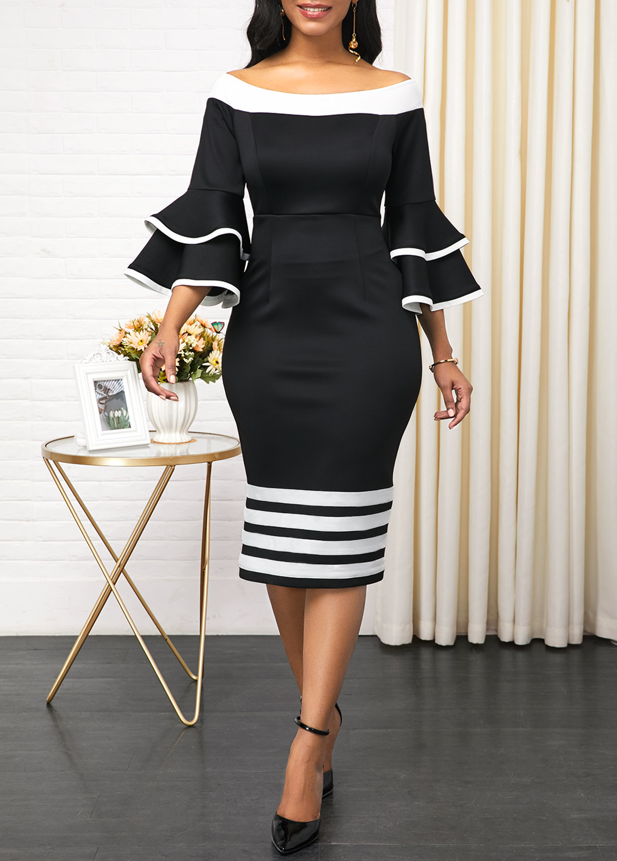 Stripe Print Back Zipper Layered Bell Sleeve Sheath Dress