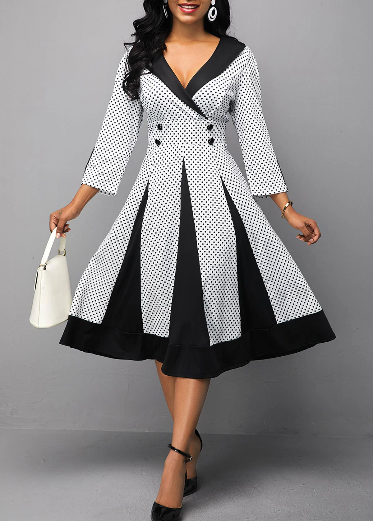 Polka Dot Print Three Quarter Sleeve Button Detail Dress