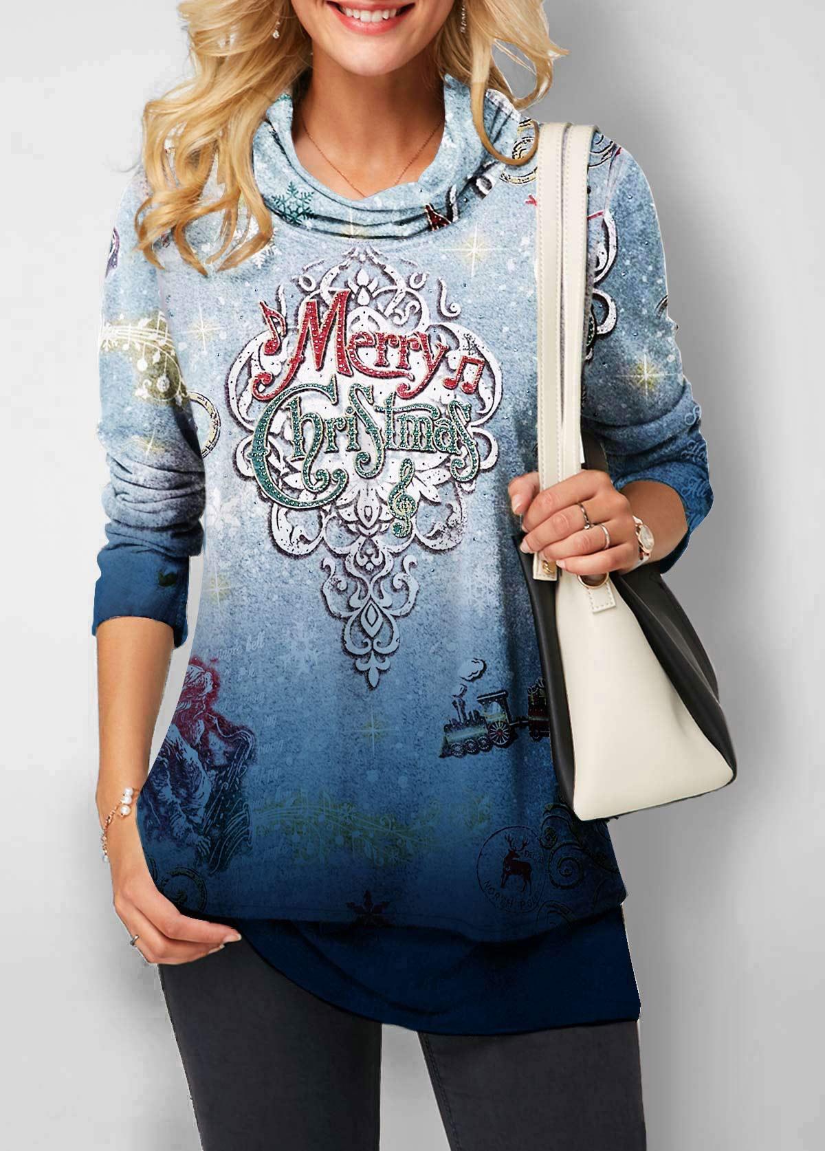 Cowl Neck Long Sleeve Christmas Print Sweatshirt