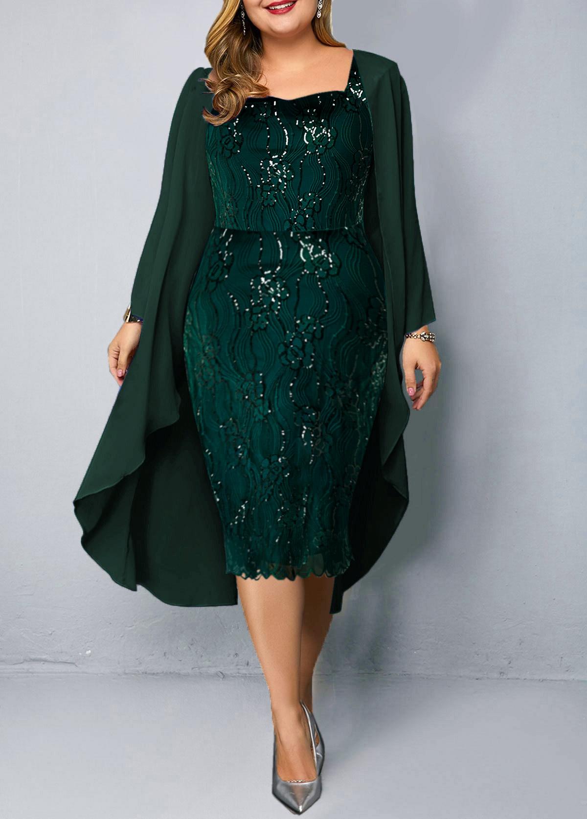 Chiffon Cardigan and Sequin Embellished Plus Size Dress