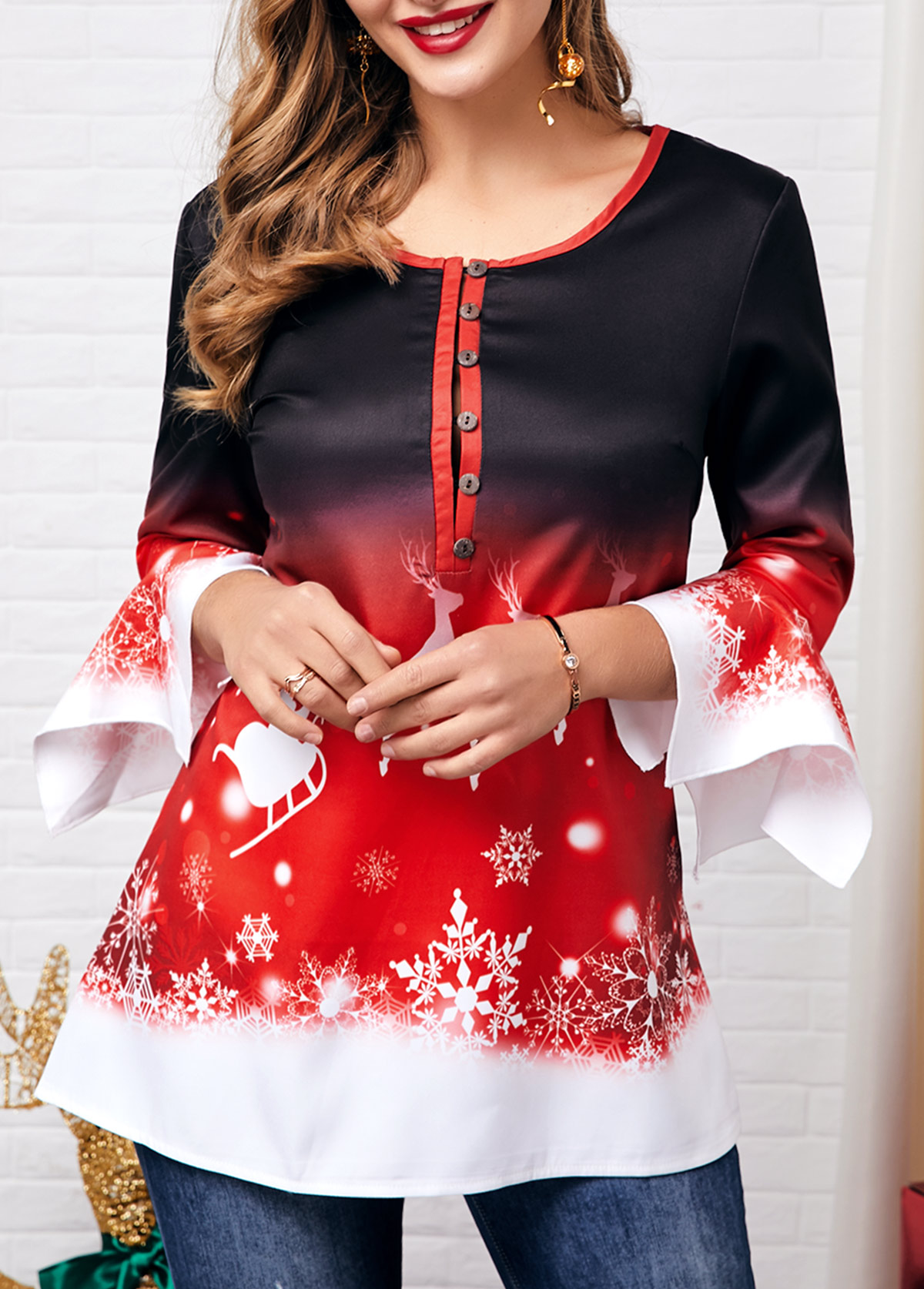 Christmas Elk Print Flare Cuff Button Front Blouse