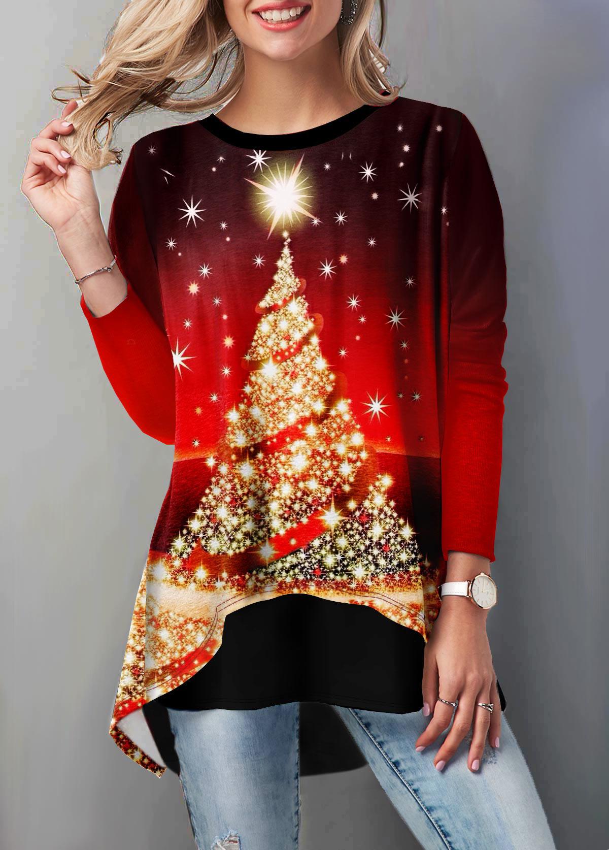 ROTITA Layered Hem Christmas Tree Print T Shirt