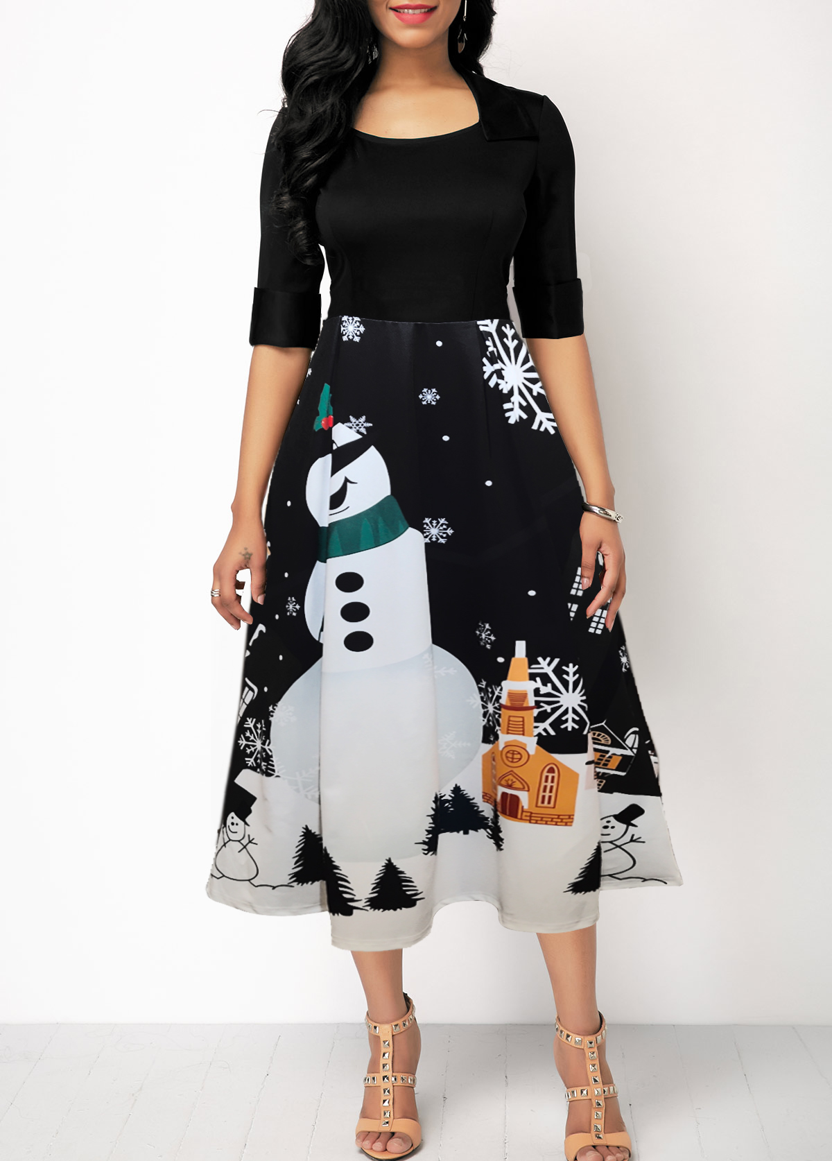 Half Sleeve Christmas Snowman Print Dress