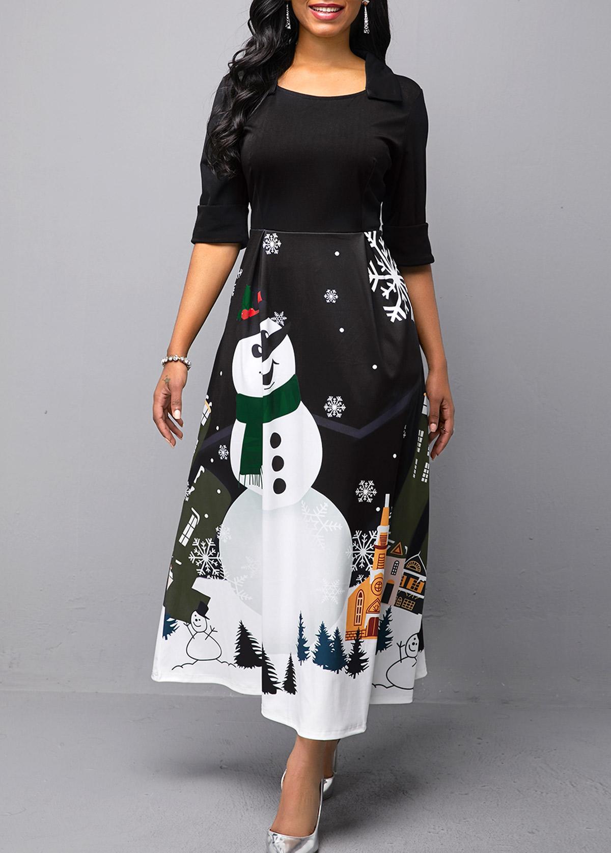ROTITA Half Sleeve Christmas Snowman Print Dress