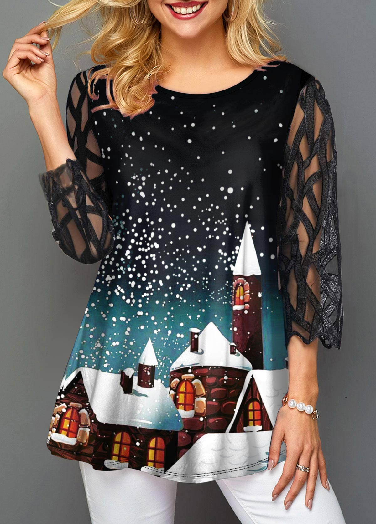 Mesh Panel Round Neck Christmas Print T Shirt
