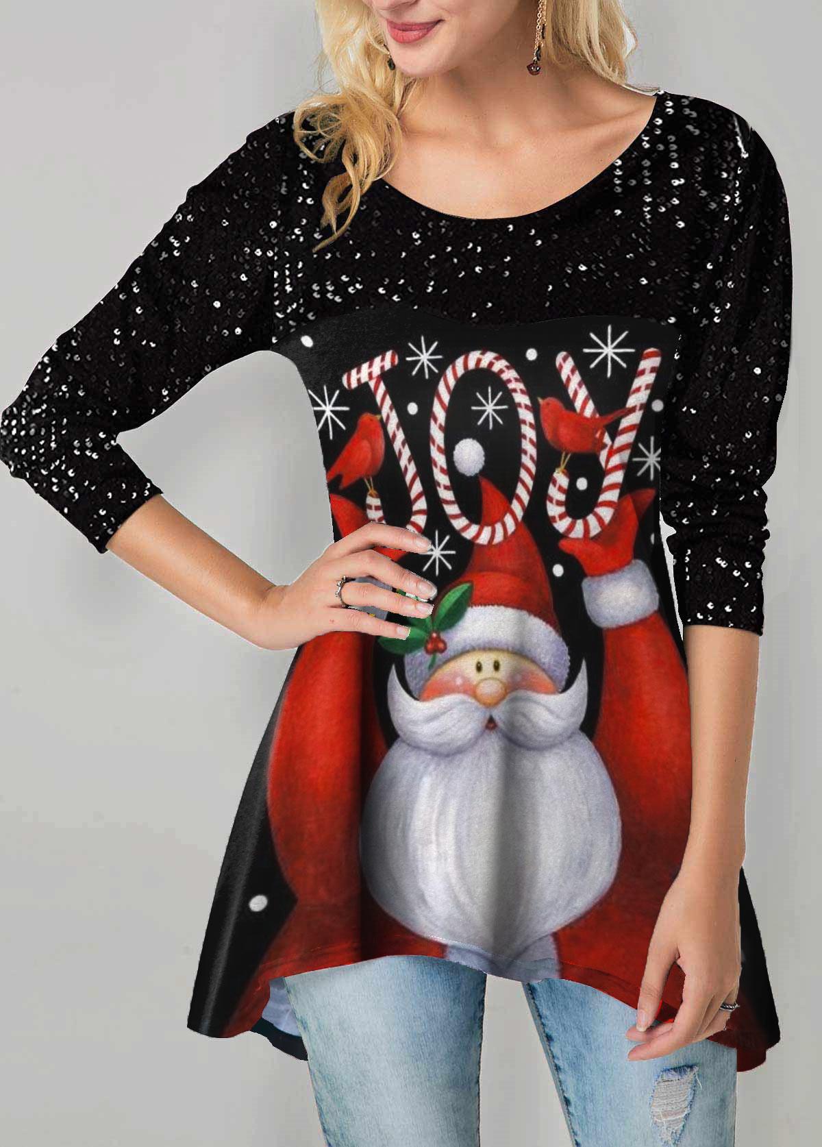 Santa Claus Print Sharkbite Hem Sequin Detail T Shirt