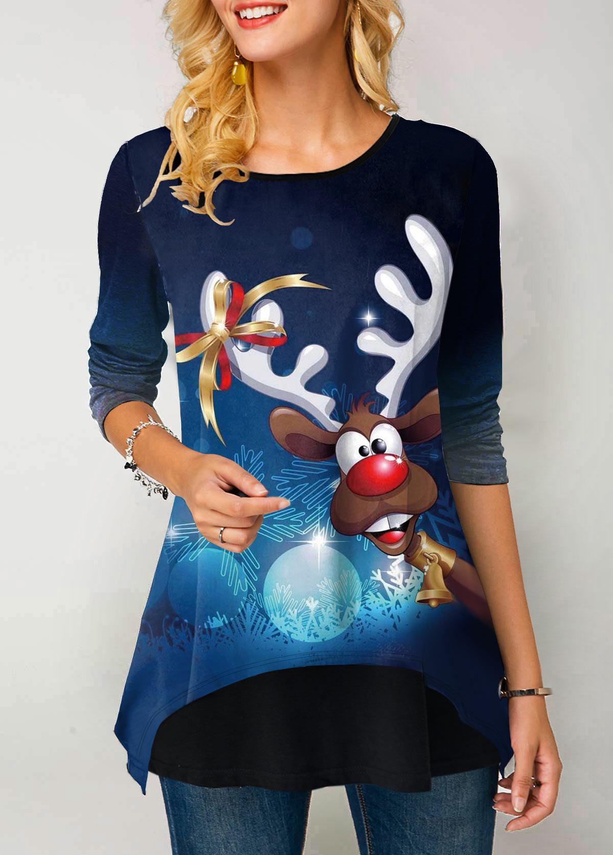 Christmas Reindeer Print Long Sleeve Gradient T Shirt