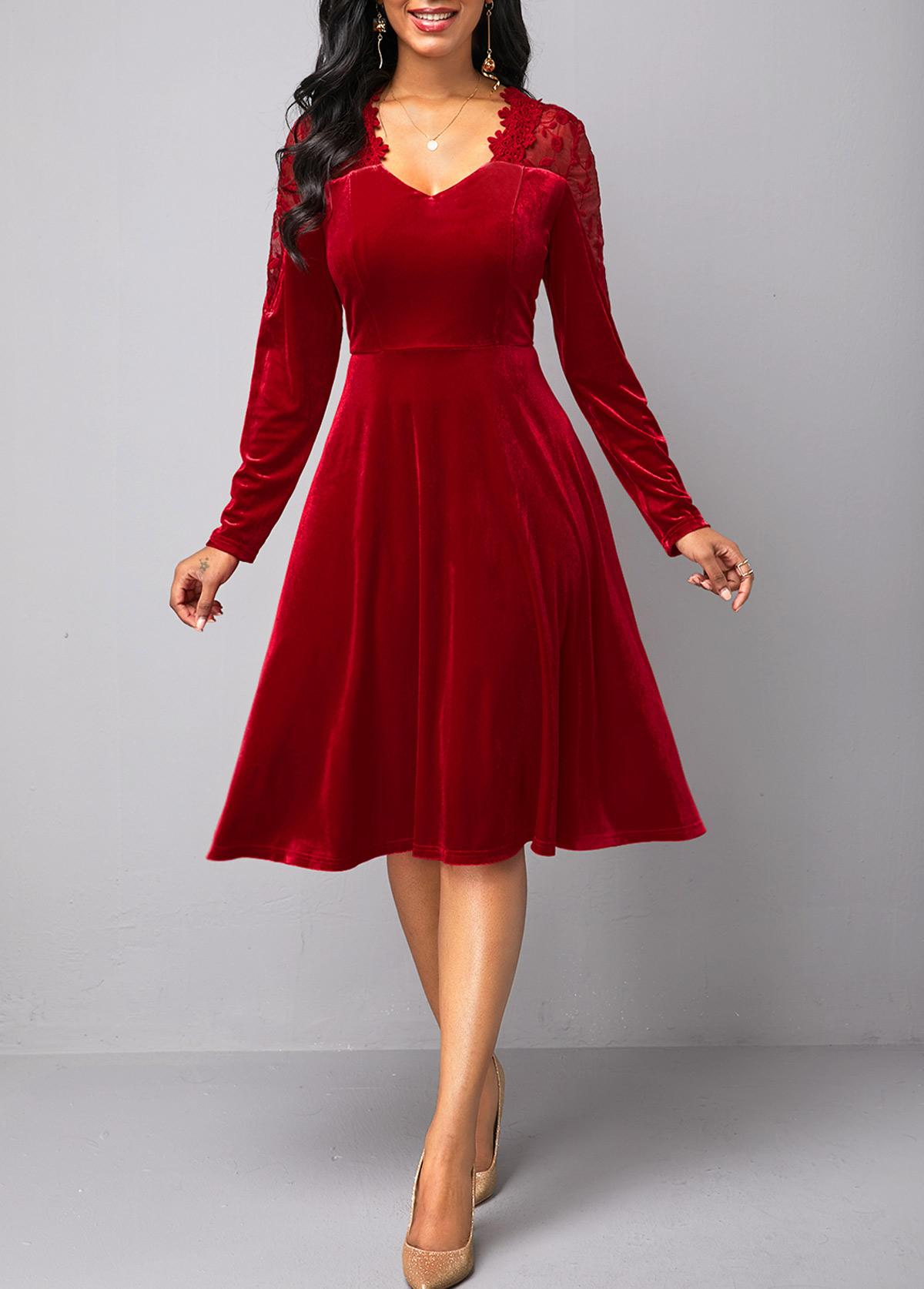 Back Zipper Lace Panel Wine Red Velvet Dress