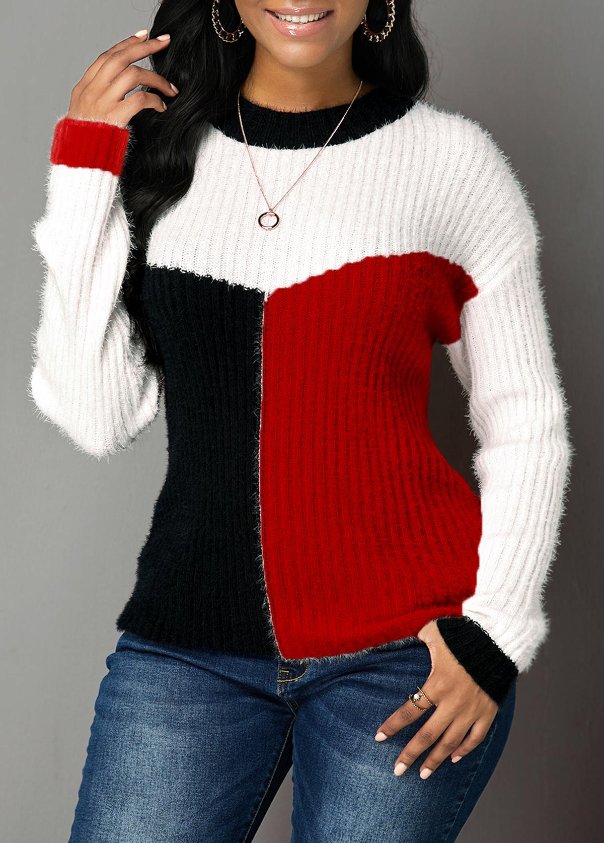 Red Round Neck Long Sleeve Sweater