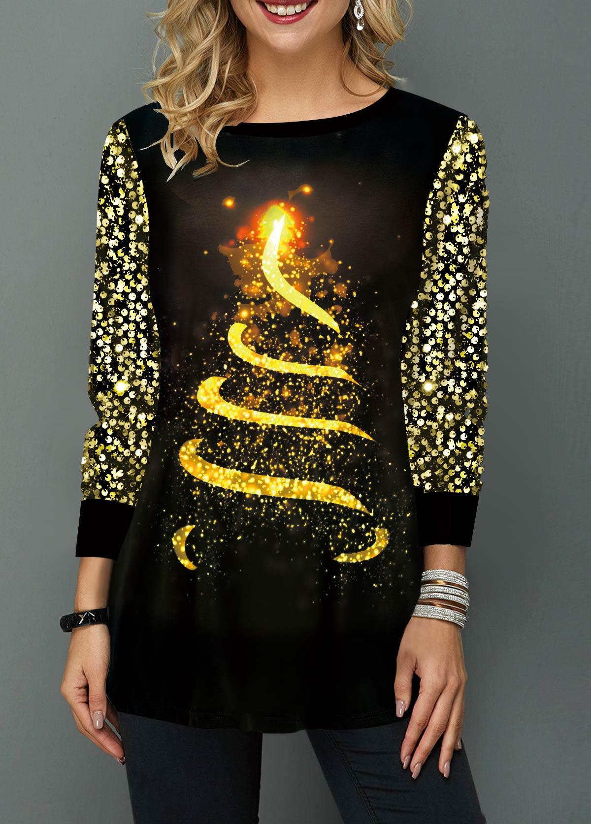 Sequin Embellished Christmas Tree Print T Shirt