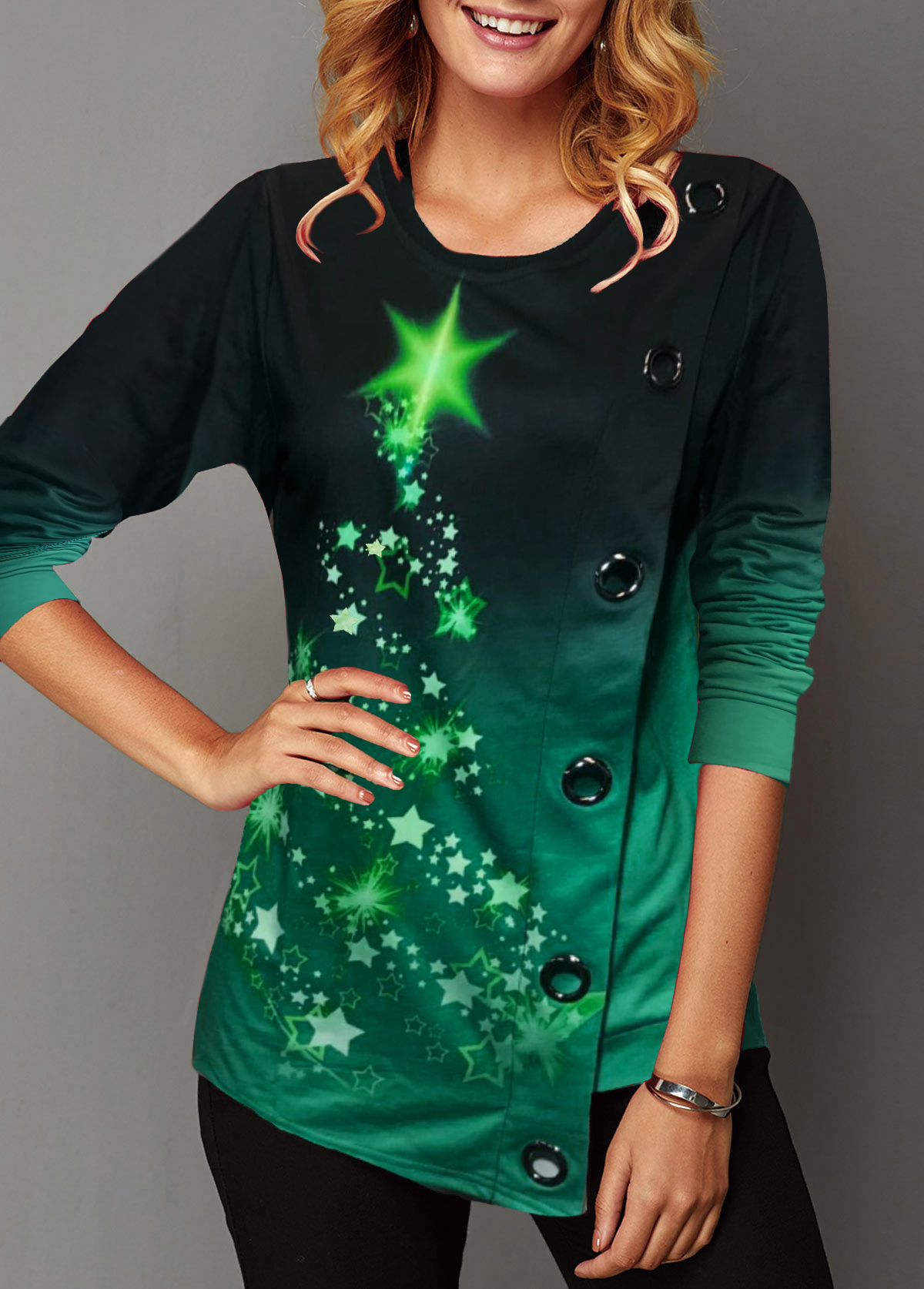 ROTITA Christmas Star Print Grommet Detail Asymmetric Hem Sweatshirt