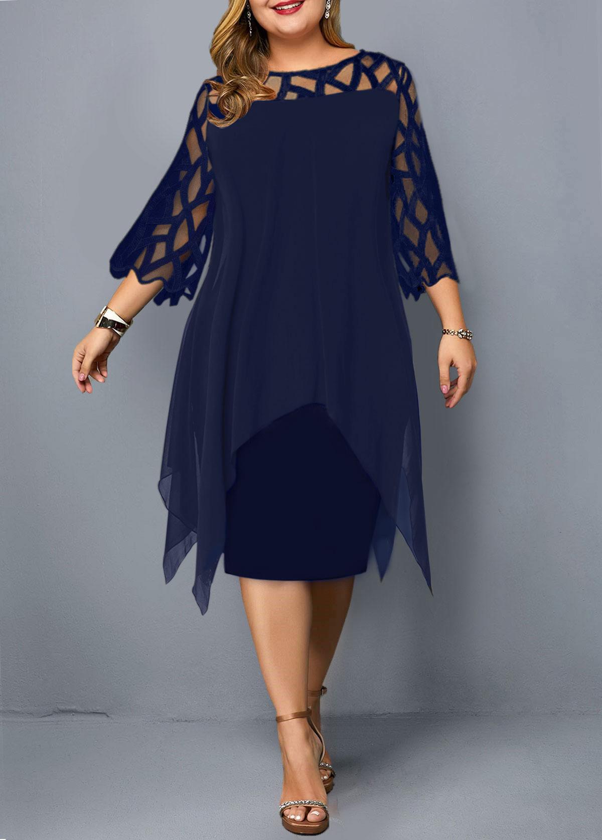 ROTITA Plus Size Overlay Embellished Lace Panel Dress