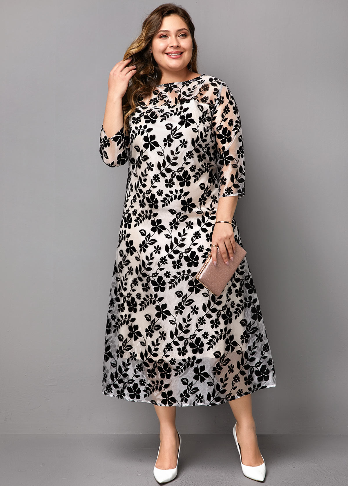 Lace Patchwork Three Quarter Sleeve Plus Size Dress