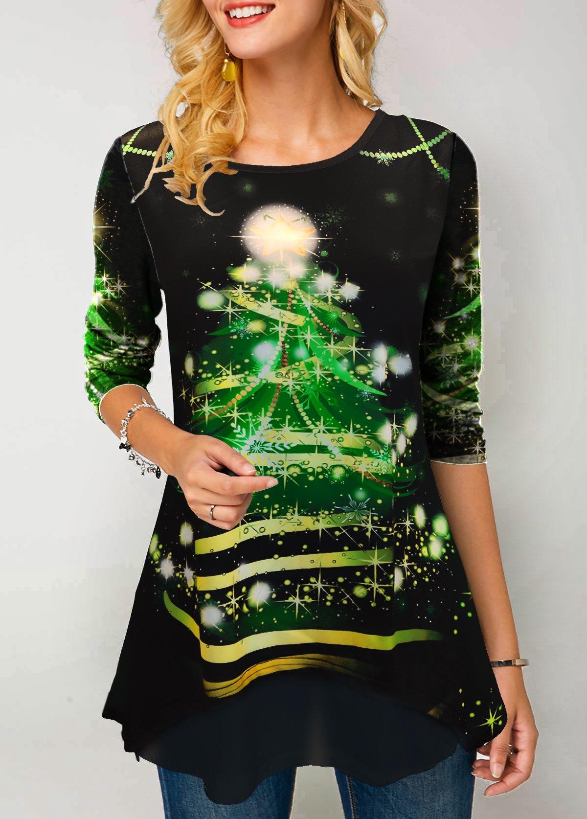 Christmas Print Long Sleeve Round Neck T Shirt
