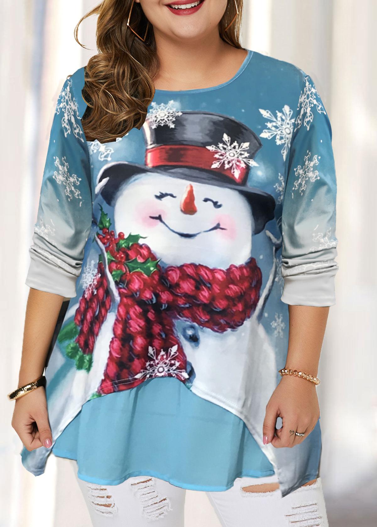 ROTITA Plus Size Christmas Print Long Sleeve T Shirt