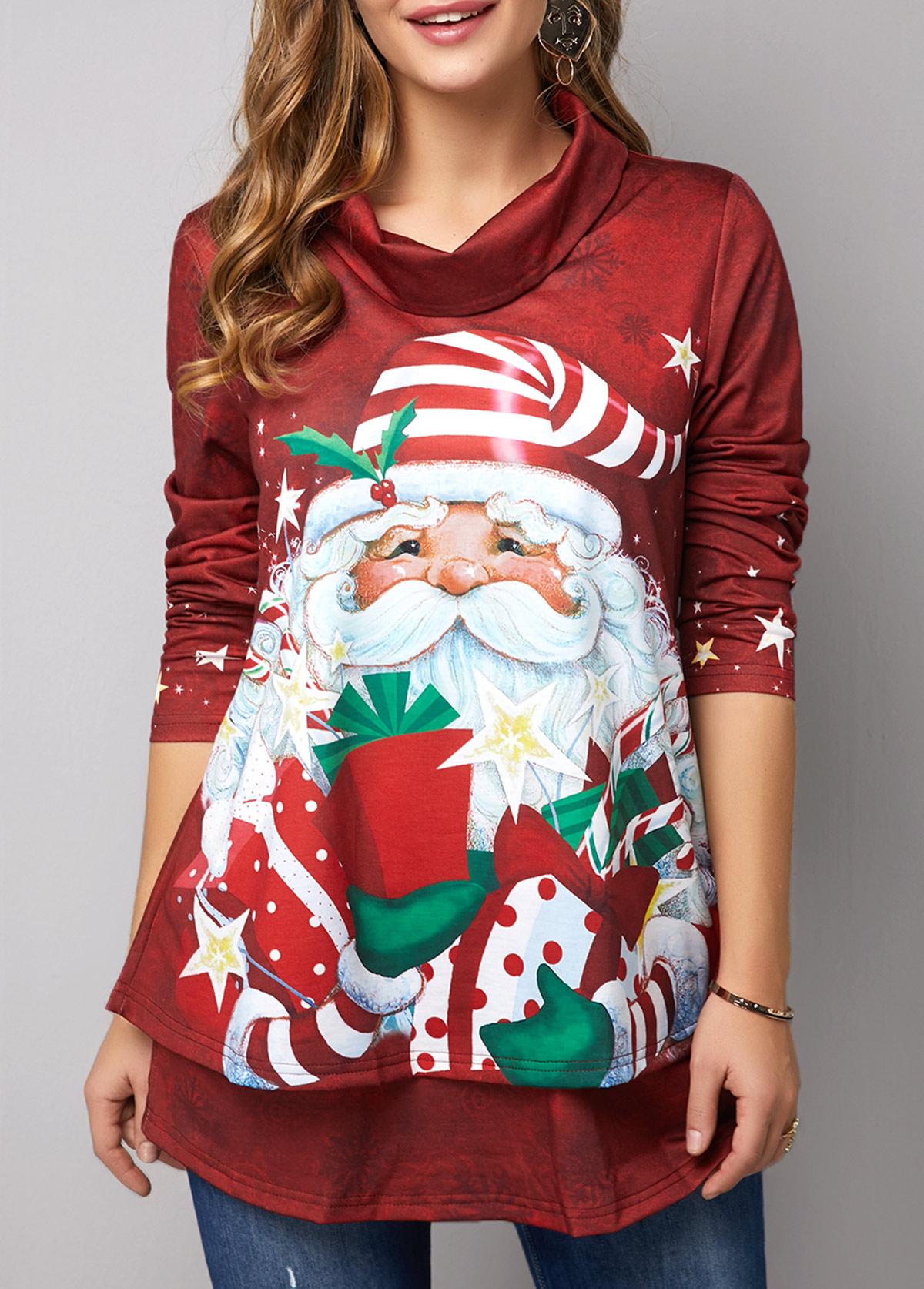 Christmas Print Long Sleeve Red Sweatshirt