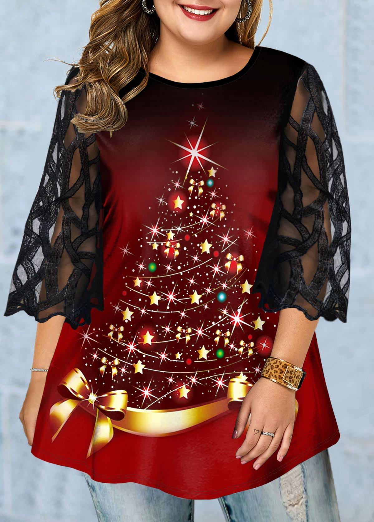 ROTITA Plus Size Mesh Panel Christmas Tree Print T Shirt