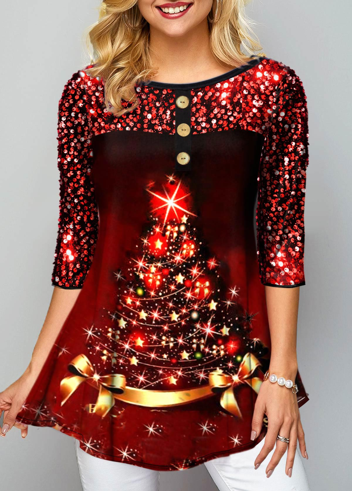 Christmas Tree Print Sequin Embellished T Shirt
