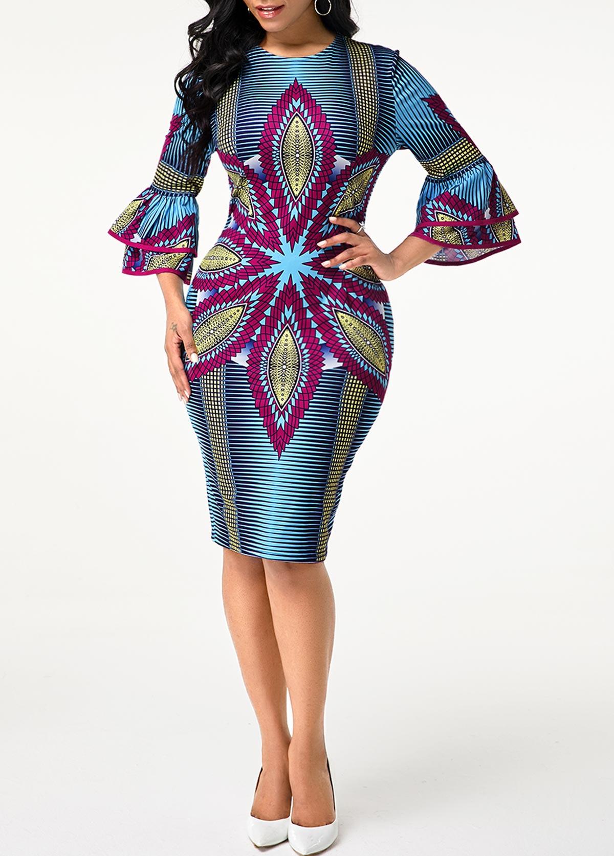Round Neck Tribal Print Flare Sleeve Dress