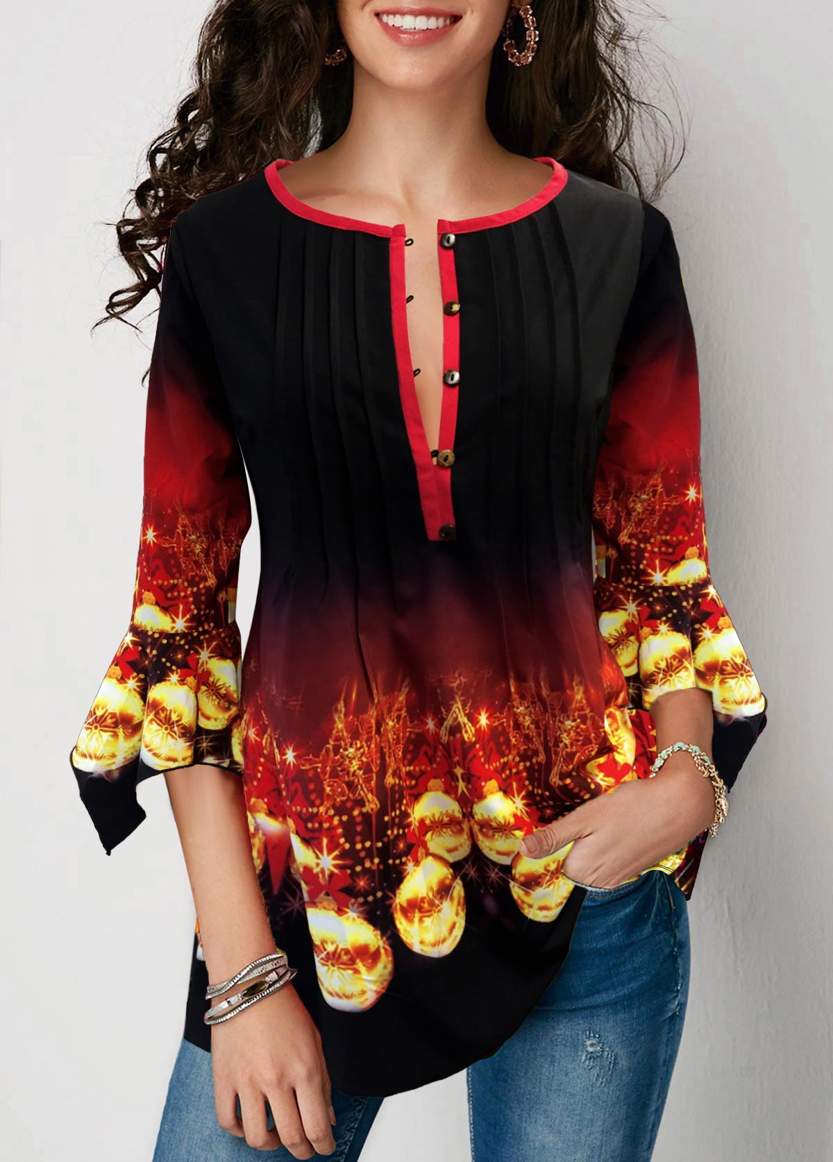 Christmas Print Gradient Flare Cuff Blouse
