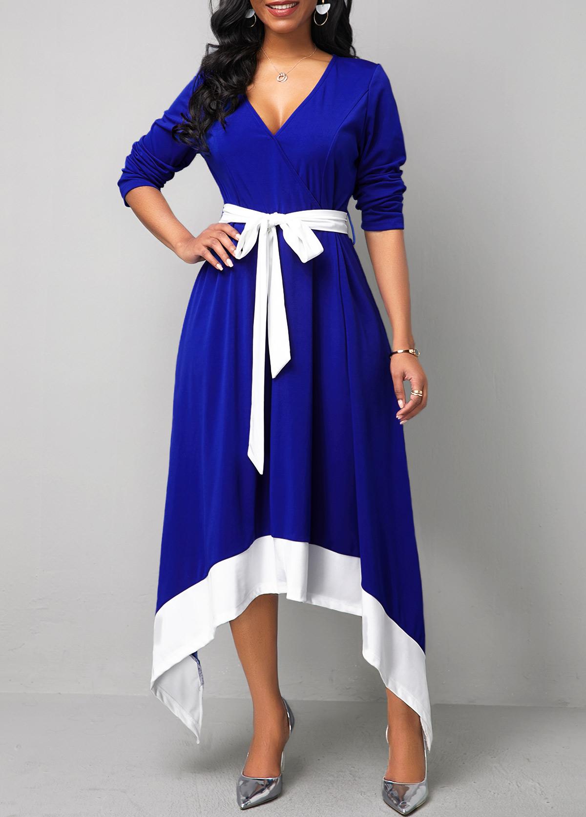 Belted Contrast Panel Asymmetric Hem Maxi Dress