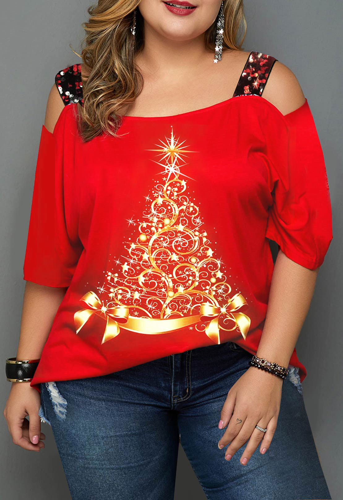 ROTITA Plus Size Ladder Cutout Christmas Print T Shirt
