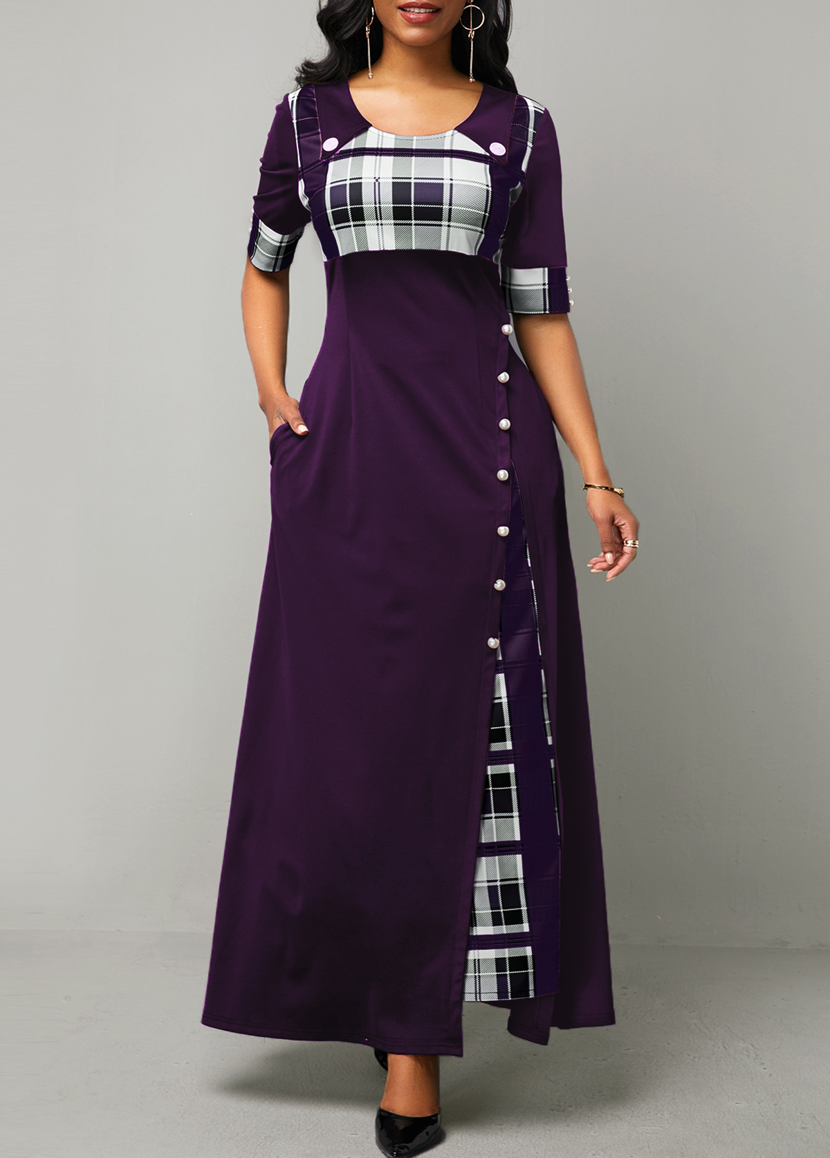 ROTITA Plaid Print Half Sleeve Button Detail Maxi Dress