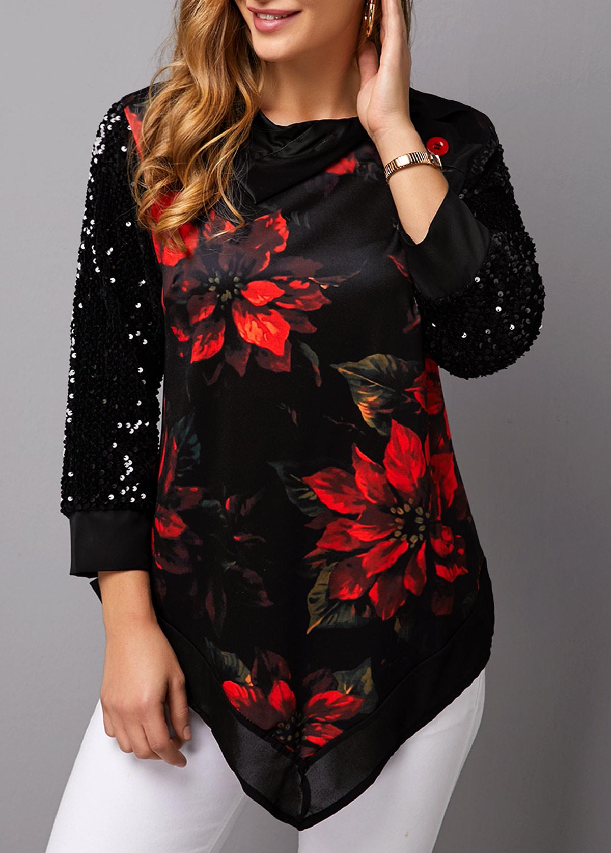 Asymmetric Hem Christmas Print Sequin Panel T Shirt
