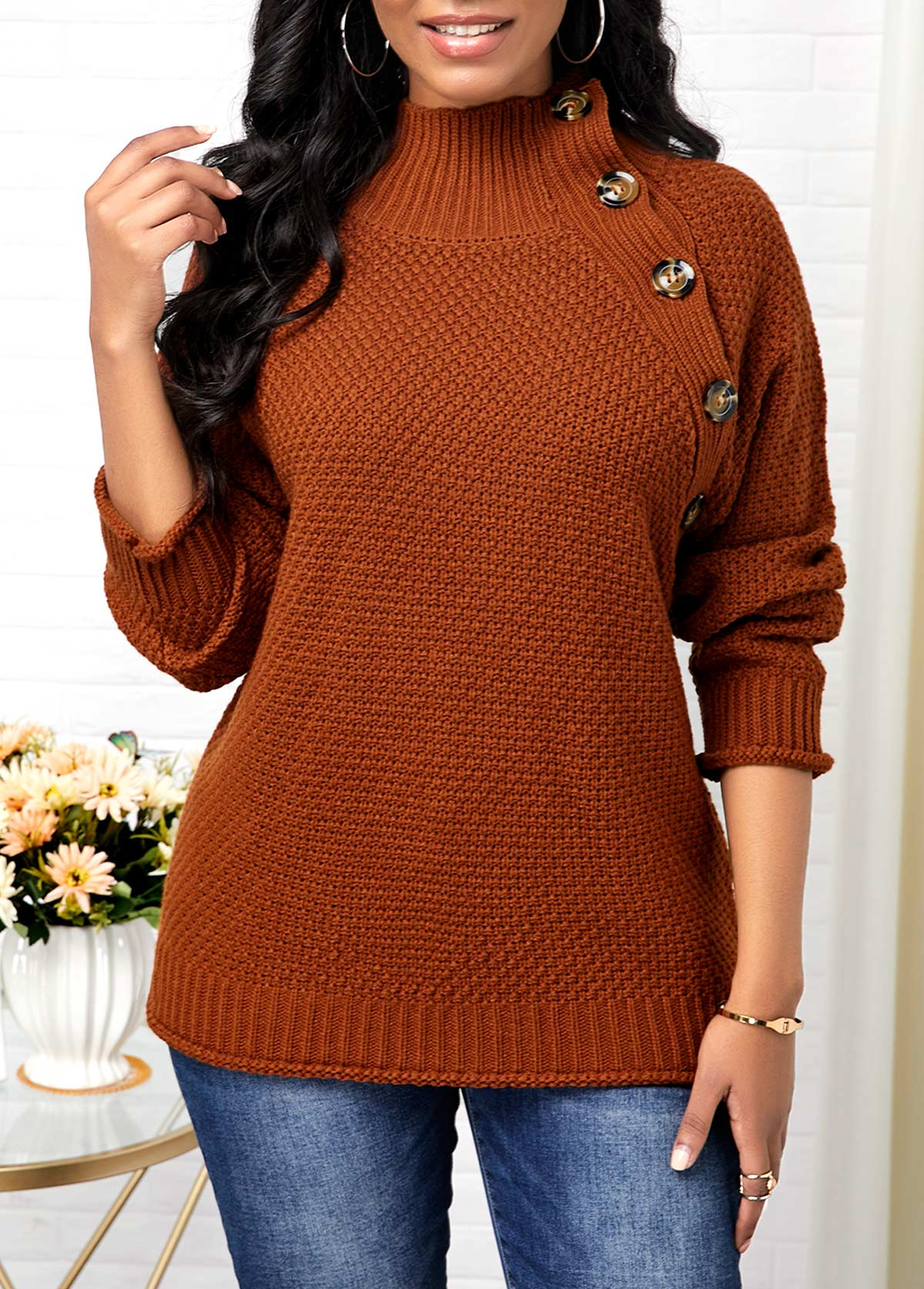 Button Detail Pullover High Neck Sweater