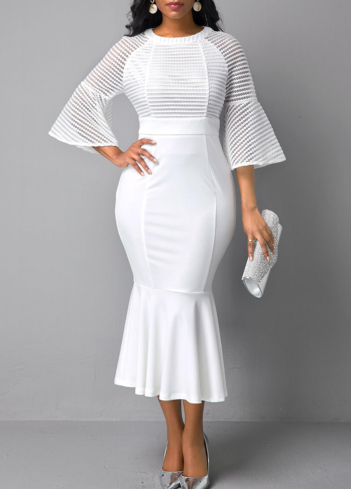 Mesh Panel White Flare Sleeve Mermaid Dress