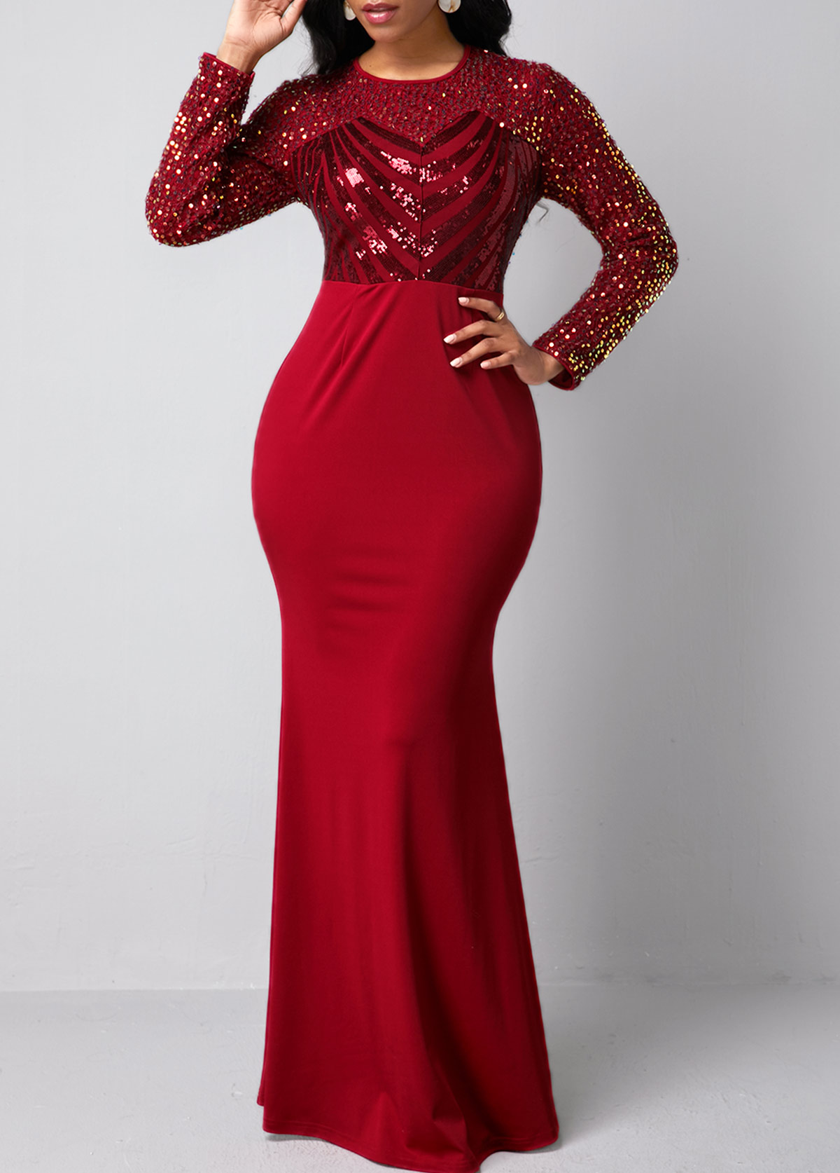 ROTITA Long Sleeve Sequin Detail Red Mermaid Dress