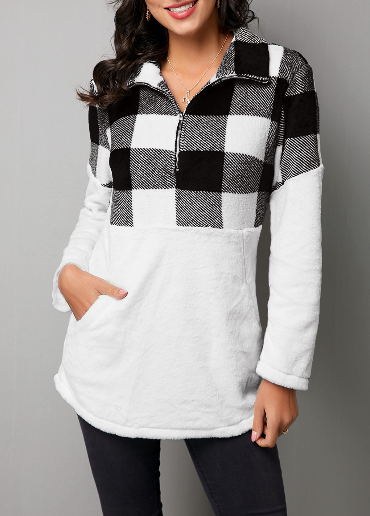 ROTITA Plaid Patchwork Turndown Collar Long Sleeve Sweatshirt