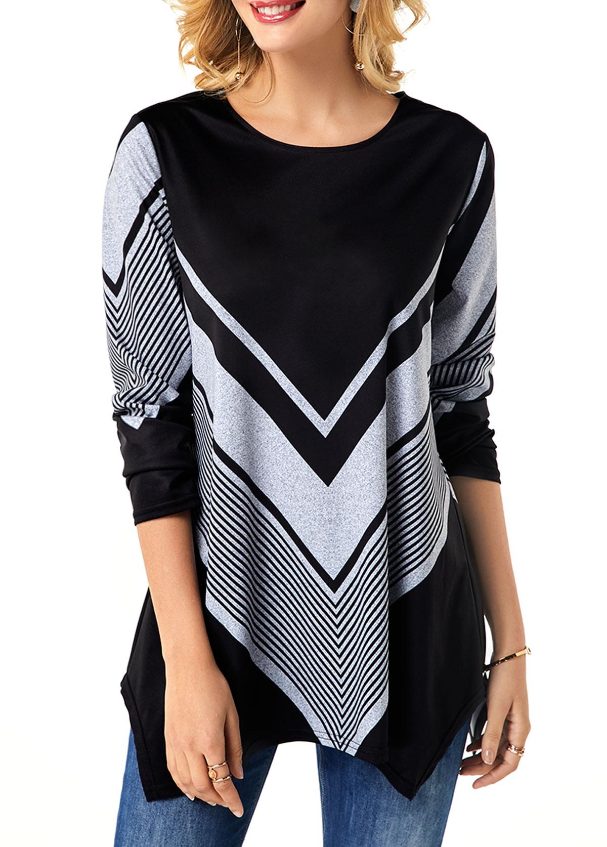 Geometric Print Round Neck Long Sleeve Black T Shirt